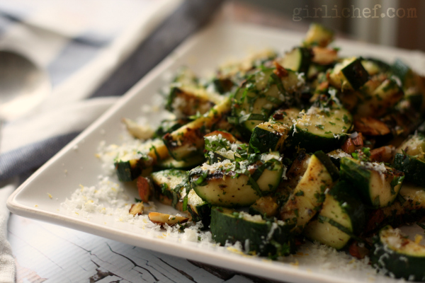 Grilled Zucchini Salad with Sea Salt and Lemon Zest