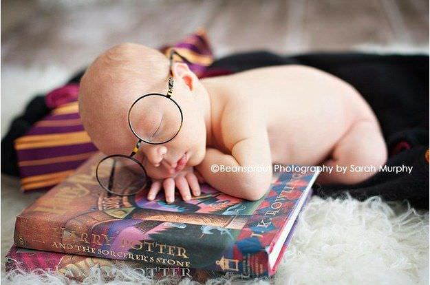 newborn baby dressed as harry potter