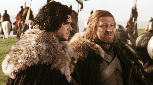 Ned Stark, played by Sean Bean, and Jon Snow