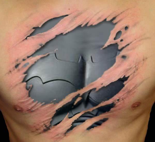 batman tattoo shredded