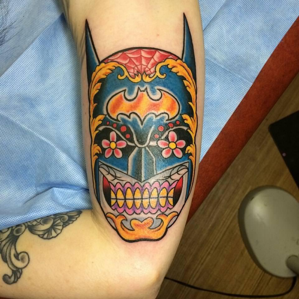 batman tattoo sugar skull