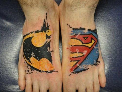 batman tattoo foot