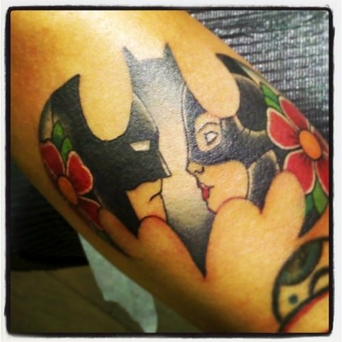 This Catwoman And Batman Tattoo Is Utterly Adorable Especially Combining The Logo Colourful Flowers