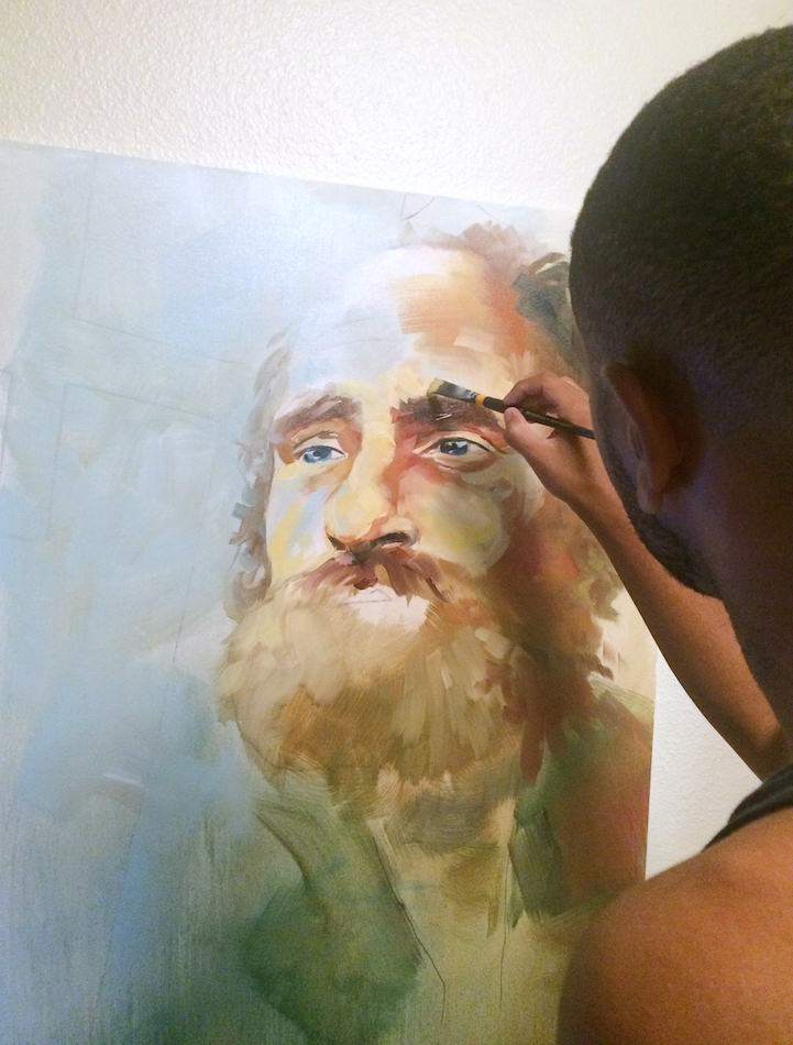 Peterson working on a painting