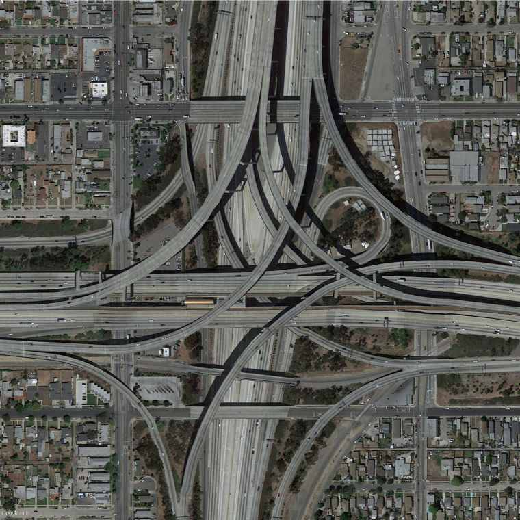 Google Earth View of Intersecting freeways in Los Angeles.