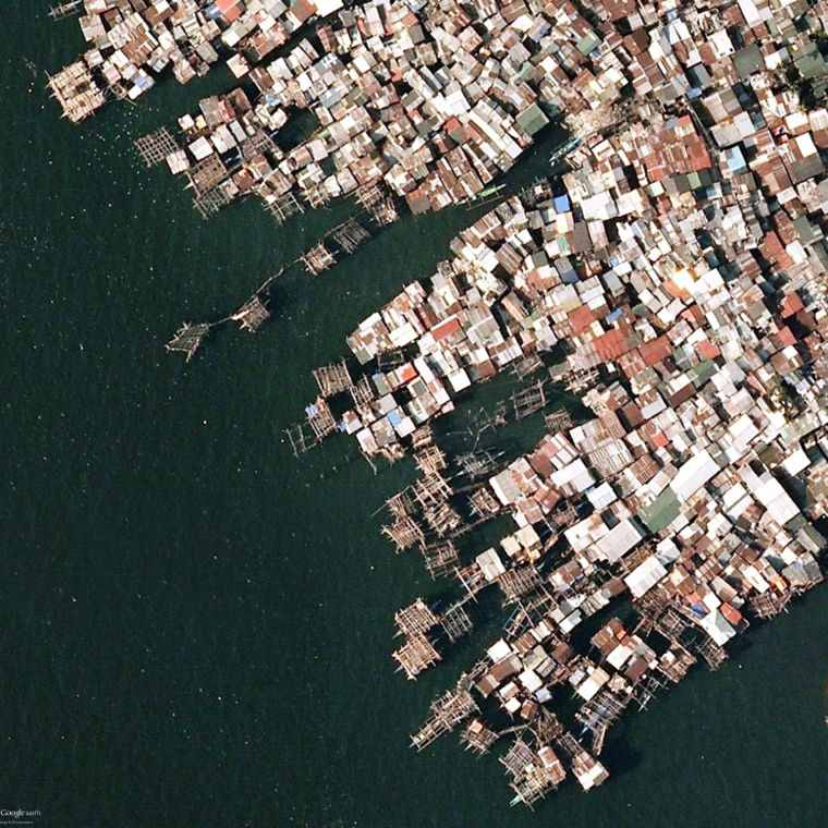 Google Earth View of a Fishing Slum, Manila.