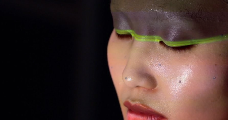 Face is scanned using facing tracking technology, close up