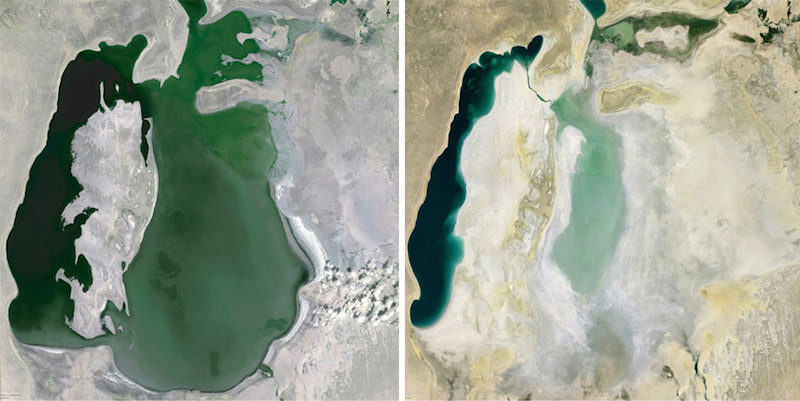 Google Earth view of The Aral Sea, Uzbekistan 1999 (left) and 2013 (right).