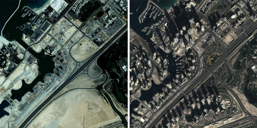 Google Earth View of Dubai in 2003 and 2014